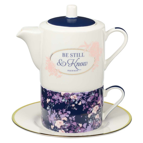 Be Still Tea for One Tea Set - Psalm 46:10