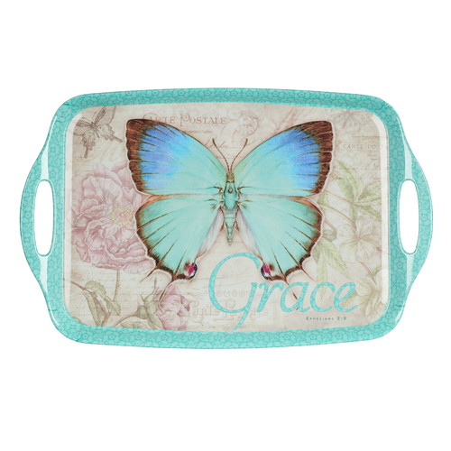 Butterfly Blessings Melamine Handled Serving Tray