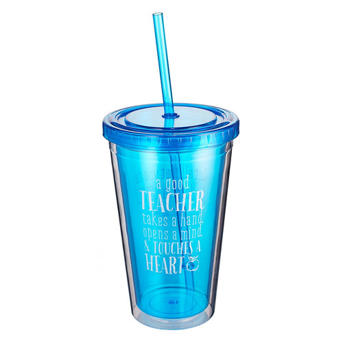 Blue Insulated Plastic Tumbler: A Good Teacher - 1 Corinthians 16:14