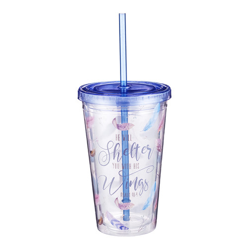 He Will Shelter You Plastic Tumbler - Psalm 91:4