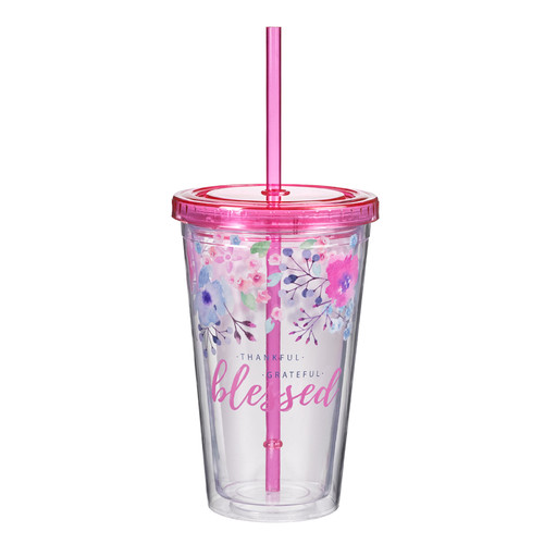 Thankful, Grateful, Blessed Plastic Tumbler