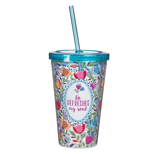 He Refreshes My Soul Plastic Tumbler - Psalm 23:3