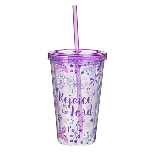 Rejoice in the Lord Plastic Tumbler - Philippians 4:4