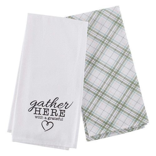 Gather Here With A Grateful Heart Cotton Tea Towel Set