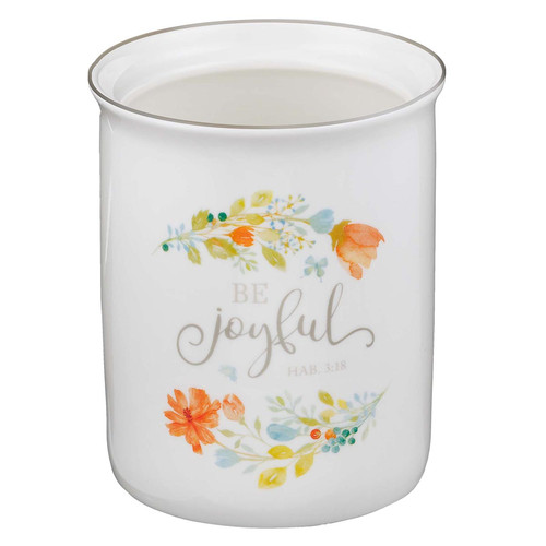 Be Joyful Ceramic Utensil Holder - Habakkuk 3:18