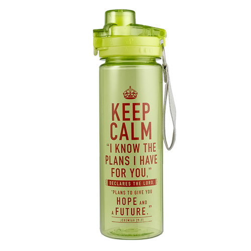 Plastic Water Bottle: Keep Calm in Lime Green - Jeremiah 29:11