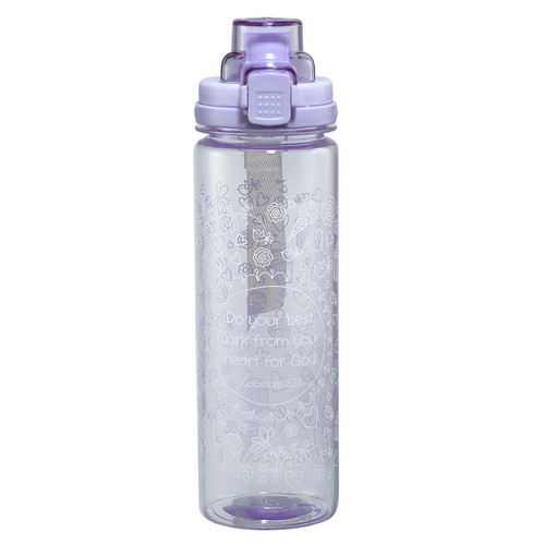 Purple Plastic Water Bottle: Holly & Hope - Colossians 3:23