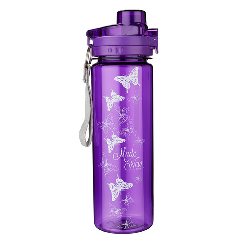 Plastic Water Bottle: Made New in Christ in Purple - 2 Corinthians 5:17