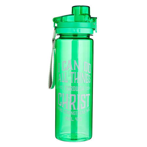I Can do All Things in green - Philippians 4:13 Plastic Water Bottle
