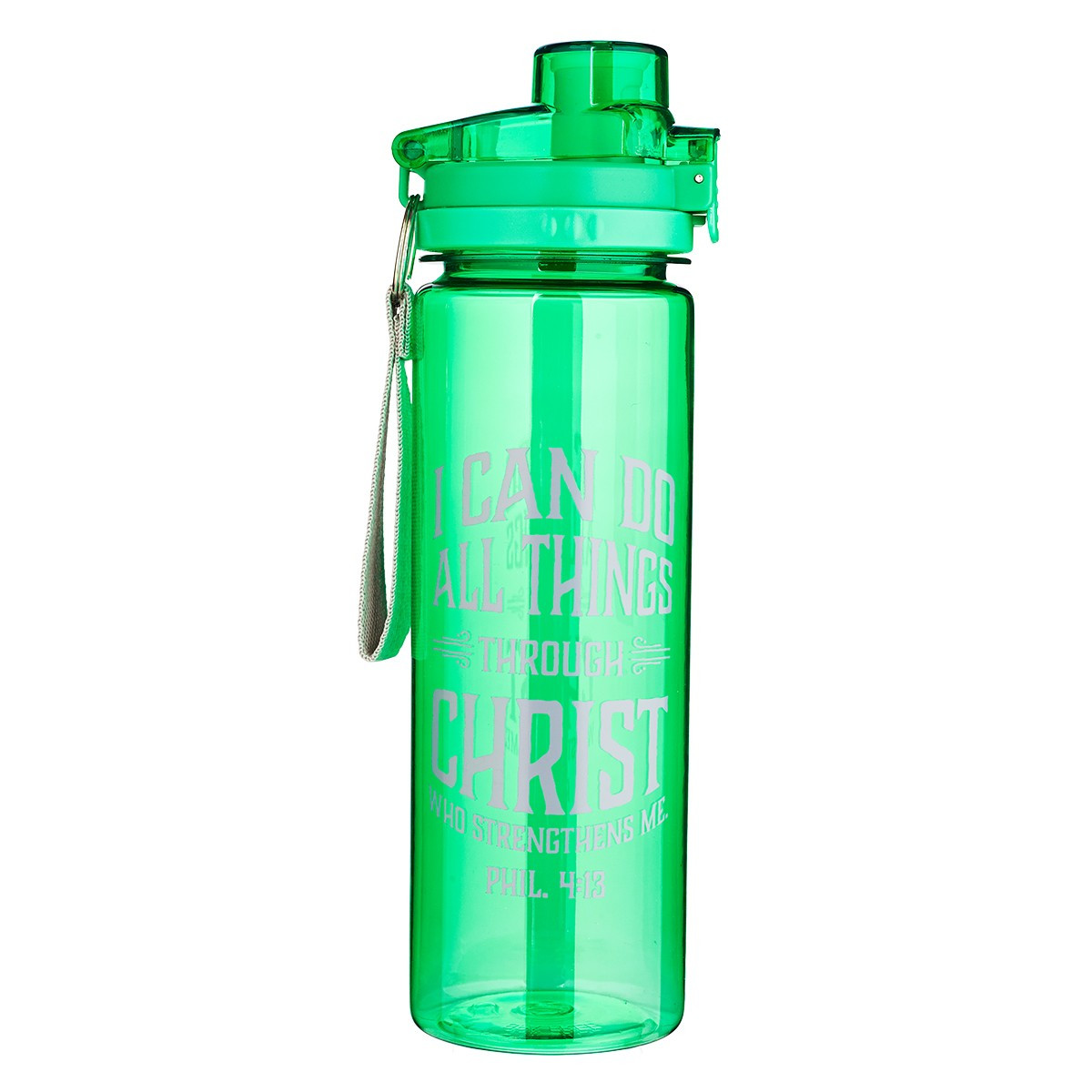 Water Bottle In Spanish: I Can Do All Things In Green