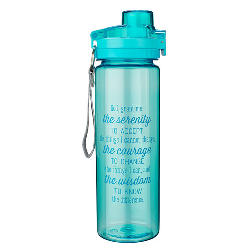 Serenity Prayer in Aqua Blue Plastic Water Bottle