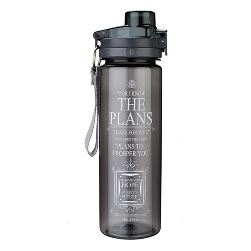 The Plans in black - Jeremiah 29:11 Plastic Water Bottle