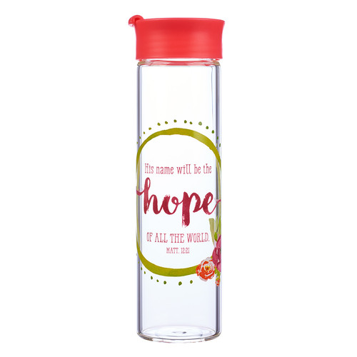 His Name Will Be The Hope - Matthew 12:21 Glass Water Bottle