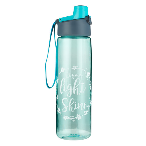 Let Your Light Shine in Teal - Matthew 5:16 Plastic Water Bottle