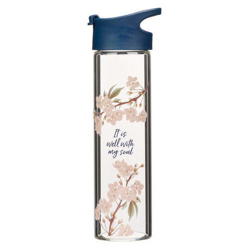 It Is Well Glass Water Bottle in Royal Blue