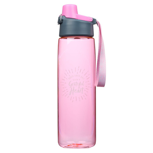 Grateful Heart Plastic Water Bottle in Pink