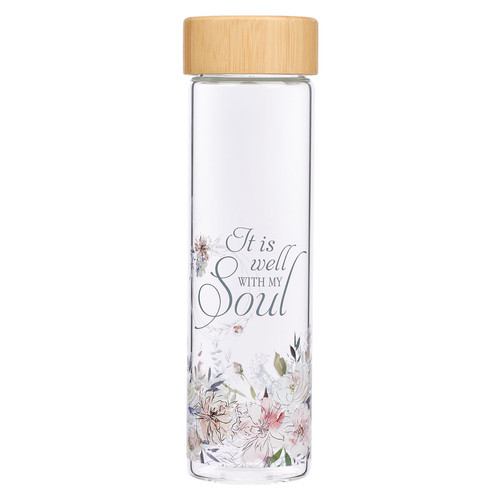 Well With My Soul Hymn Glass Water Bottle with Bamboo Lid and Sleeve