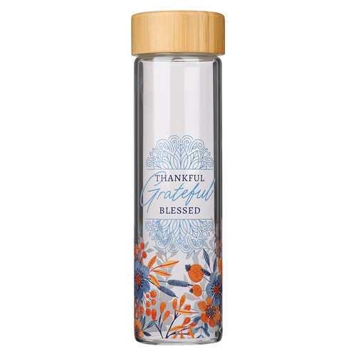Thankful Grateful Blessed Glass Water Bottle with Bamboo Lid and Sleeve