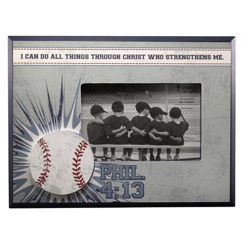 Baseball/ Phil. 4:13 (Blue) Wooden Photo Frame