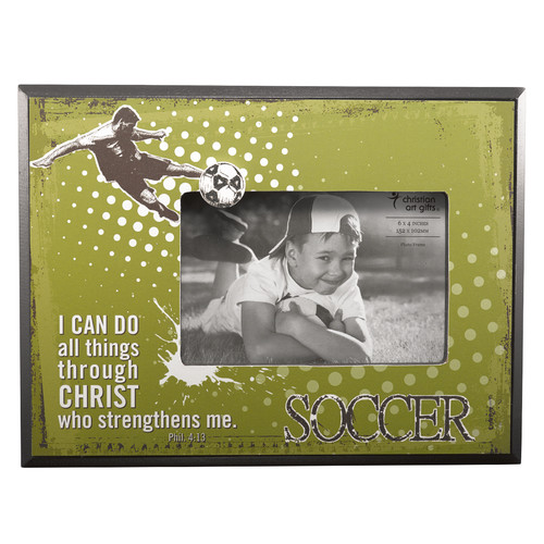 Soccer/Phil. 4:13 (Green) Wooden Photo Frame