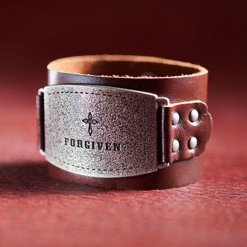 Ladies Leather Wristband: Forgiven Buckle in Brown