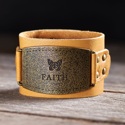 Ladies Leather Wristband: Faith Buckle in Tan