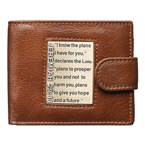 I Know the Plans Genuine Leather Wallet with Brass Inlay - Jeremiah 29:11