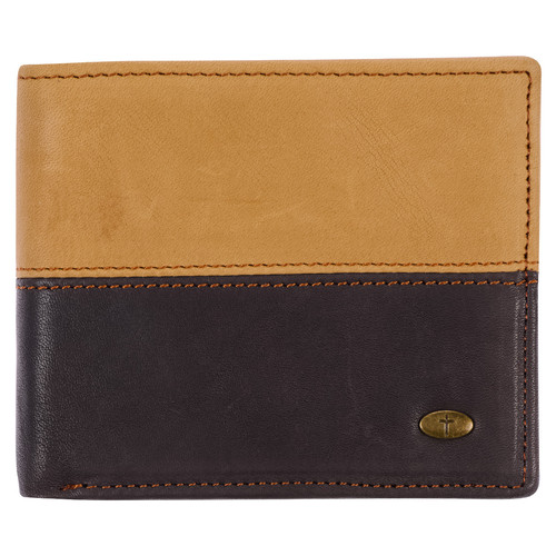 Two-tone Brown Leather Wallet with Cross Badge