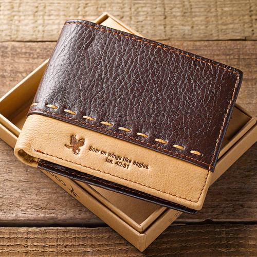 Leather Wallet: On Wings Like Eagles in Two-Tone Brown - Isaiah 40:31