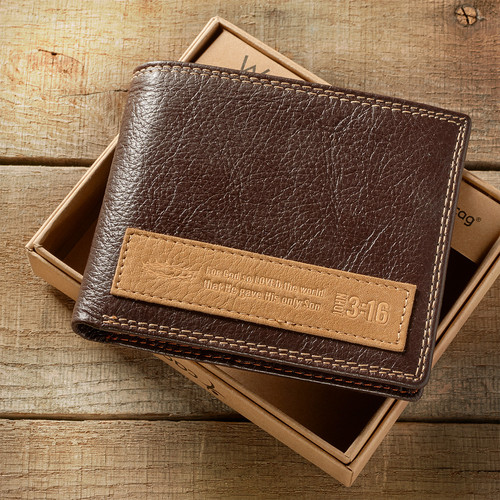 Leather Wallet: Dark Brown with Appliqué - John 3:16