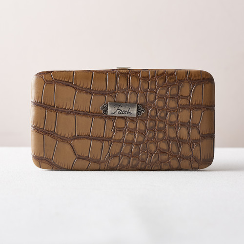Faith Croc-Embossed Opera Wallet in Taupe