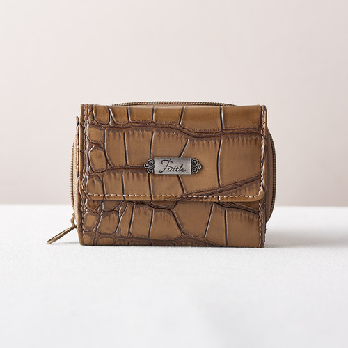 Faith Croc-Embossed Wallet in Taupe
