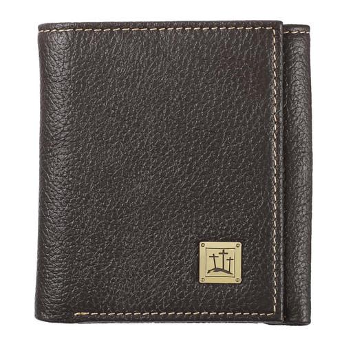 Three Crosses in Brown Leather Wallet
