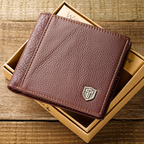Leather Wallet: Metal Cross Shield in Burgundy