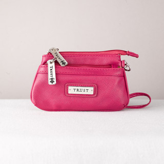 "Fine Textured Vinyl Wristlet Coin Purse w/""Trust"" Badge (Pink)"