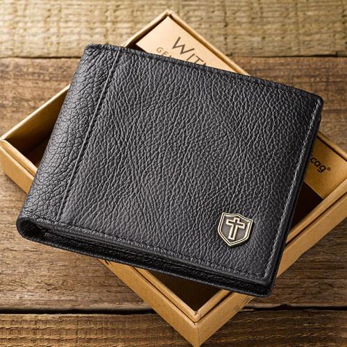 Leather Wallet: Metal Cross Shield in Black