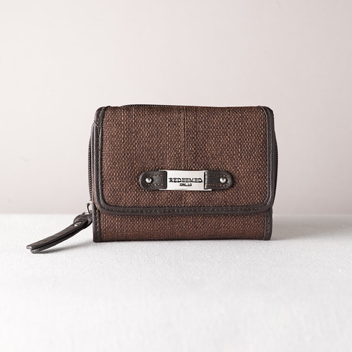 Brown Linen Look Wallet w/Redeemed Badge