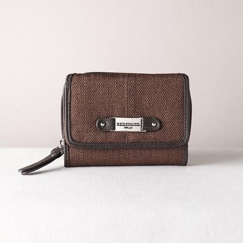 Brown Linen Look Wallet w/Redeemed Badge