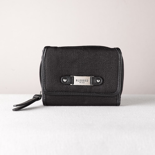 Black Linen Look Wallet w/