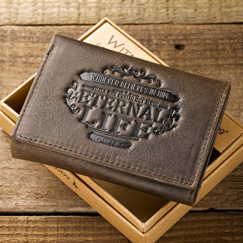 Leather Wallet: Eternal Life Tri-Fold in Brown - John 3:16