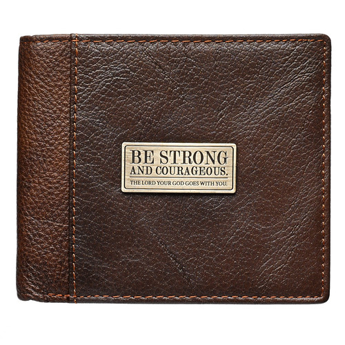 Strong and Courageous in Two-Tone Brown - Deuteronomy 31:6 Leather Wallet