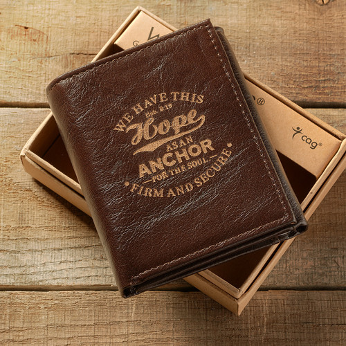 Leather Wallet: Hope as an Anchor Tri-Fold in Brown - Hebrews 6:19