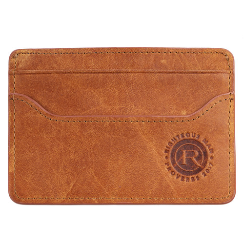 Righteous Man Full Grain Leather Card Holder – Proverbs 20:7