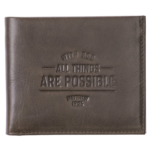 With God All Things Are Possible Brown Genuine Leather Wallet - Matthew 19:26