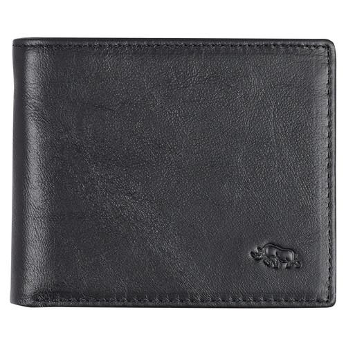 Mens Ebony Black Full Grain Cowhide Leather Bifold Rhino Armor™ Wallet