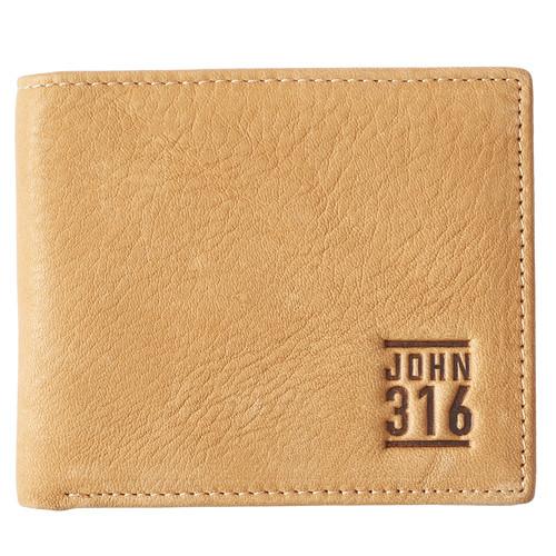John 3:16 in Tan Leather Wallet in Tin