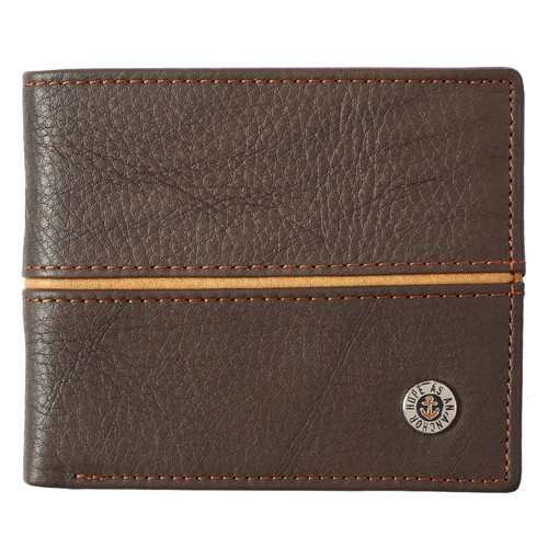 Hope as an Anchor Dark Brown Genuine Leather Wallet - Hebrews 6:19