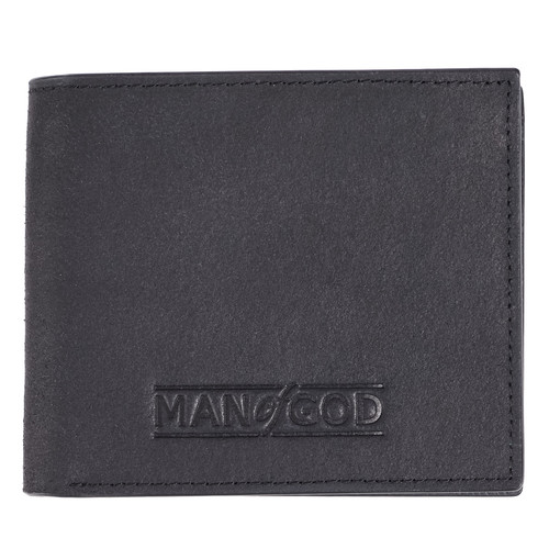 Man of God in Black - 1 Timothy 6:11 Leather Wallet